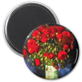 Vaso de Van Gogh com o ímã vermelho das papoilas Imã