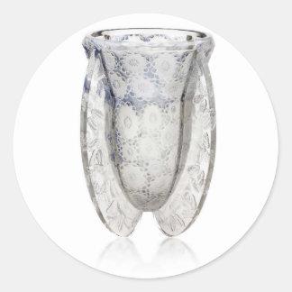 Vaso de vidro claro do art deco com flores adesivo