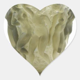 Vaso de vidro do art deco claro com dançarinos adesivo coração