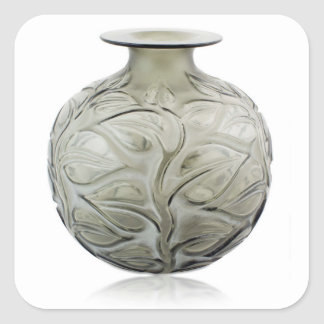 Vaso de vidro do art deco claro com projeto da adesivo quadrado