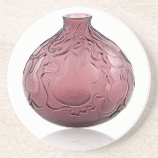 Vaso de vidro do art deco roxo que descreve peras porta copos de arenito
