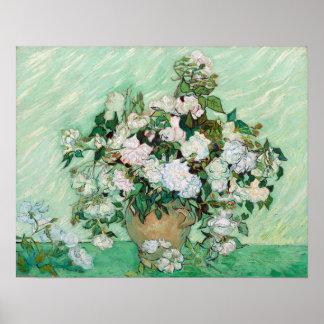 Vaso de Vincent van Gogh com rosas cor-de-rosa Poster