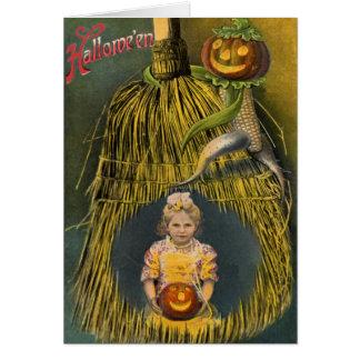 Vassoura do espantalho da abóbora da lanterna de cartão comemorativo