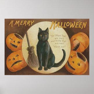 Vassoura do gato preto da abóbora da lanterna de poster