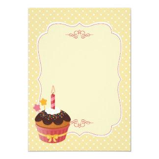 Vazio delicioso doce do amarelo do cupcake do convite 12.7 x 17.78cm