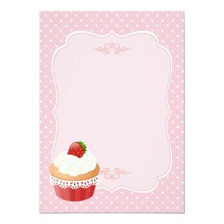 Vazio delicioso doce do rosa do cupcake da morango convite 12.7 x 17.78cm