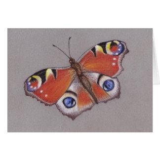 Vazio do cartão de nota da borboleta de pavão para