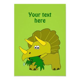 Vazio verde bonito do dinossauro dos desenhos convite 12.7 x 17.78cm