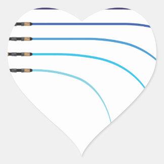 Vazios curvados da haste da haste de pesca vetor adesivo coração