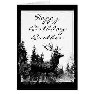 Veado do vintage do irmão do feliz aniversario, ce cartão comemorativo