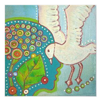 vegan BIRD Convite Quadrado 13.35 X 13.35cm