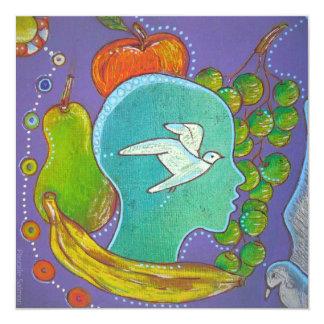 Vegan frutos BIRD Convite Quadrado 13.35 X 13.35cm