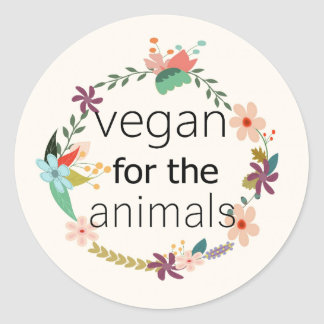 Vegan para a etiqueta do design floral dos animais