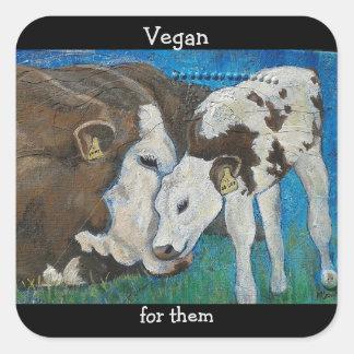 Vegan para eles etiqueta da vaca adesivo quadrado
