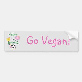 Vegan para os animais com porco bonito, vaca, adesivo para carro