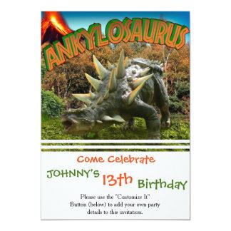 Vegetação e vulcão do parque do dinossauro do convite 12.7 x 17.78cm