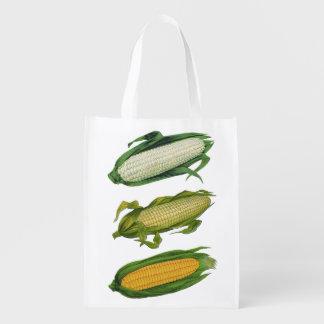 Vegetais saudáveis da comida do vintage, milho sacolas ecológicas para supermercado