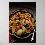 Vegetal e salada de frango pôsteres