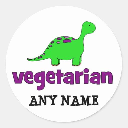 Vegetariano - design do dinossauro adesivos em formato redondos