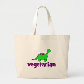 Vegetariano - design do dinossauro bolsas de lona
