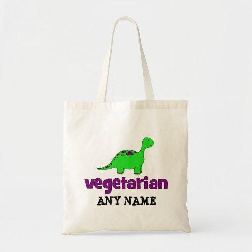Vegetariano - design do dinossauro bolsa para compras