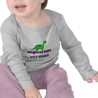 Vegetariano - design do dinossauro tshirts