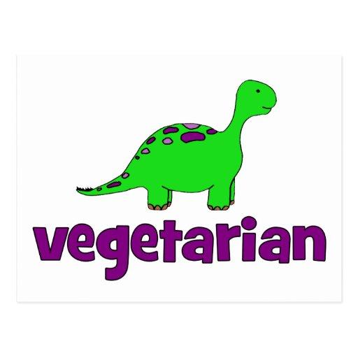 Vegetariano - design do dinossauro cartoes postais