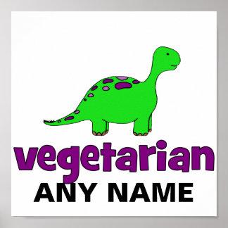 Vegetariano - design do dinossauro pôsteres