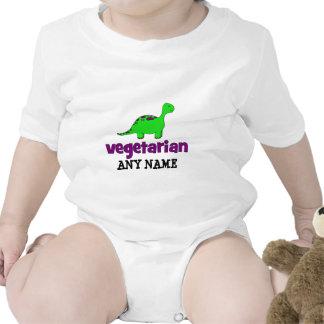 Vegetariano - design do dinossauro macacãozinhos para bebê