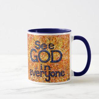 Veja o deus em todos caneca