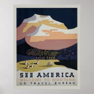 Veja o poster de viagens de Montana do vintage de