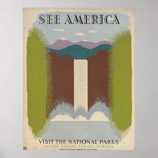 Veja o poster de viagens dos parques nacionais do