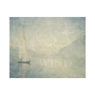 Vela contra o impressão das canvas do vento