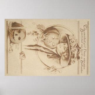 Vela da folha da lanterna de Jack O da mulher Poster