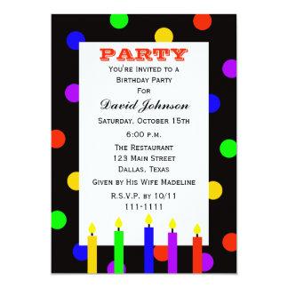Velas coloridas da festa de aniversário adulta convite 12.7 x 17.78cm