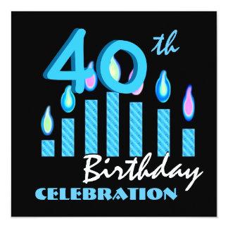 Velas do azul do convite de festas do aniversário