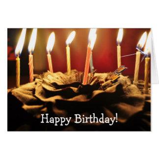 Velas e bolo de chocolate: Cartão do feliz