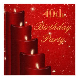Velas elegantes do aniversário de 40 anos com convite quadrado 13.33 x 13.33cm