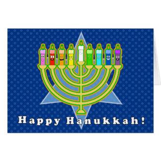 Velas felizes do cartão de Hanukkah com envelope