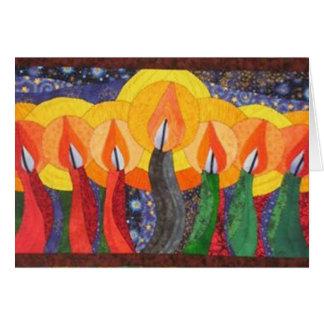 Velas nos cartões de cartões de natal de Kwanzaa