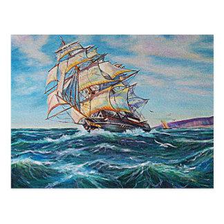 Veleiro na pintura a óleo das águas ásperas cartão postal