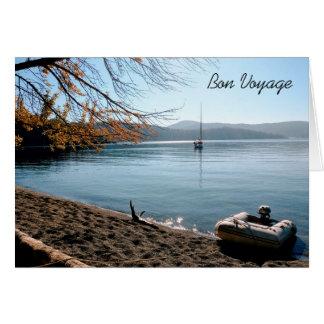 Veleiro no cartão do bon voyage das ilhas
