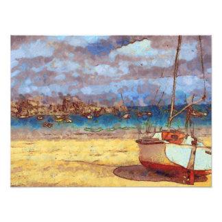 Veleiro por um porto de Brittany Impressão De Foto