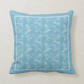 Veleiros e travesseiro decorativo ou coxim das almofada