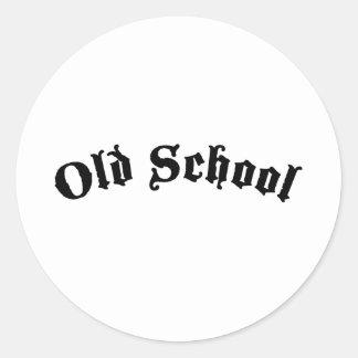 Velha escola adesivos em formato redondos