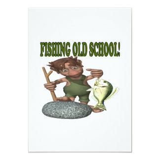 Velha escola da pesca convites personalizados