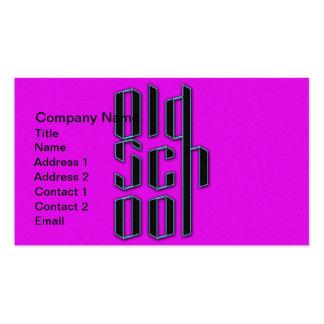 Velha escola roxa de néon cartão de visita