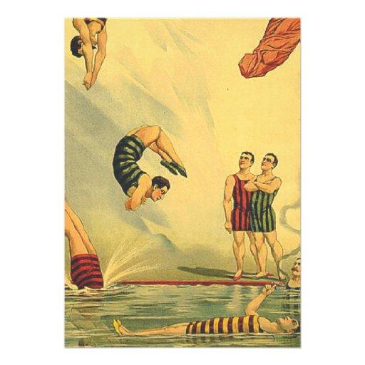 Velha escola SUPERIOR do mergulho Convite Personalizado