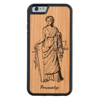 """Velho Mundo """"senhora Justiça"""" retro ou desenho do Capa De Madeira Cerejeira Bumper Para iPhone 6"""