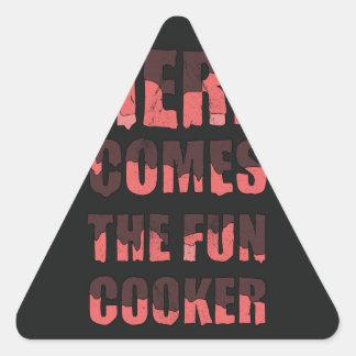 Vem aqui o fogão do divertimento adesivo triangular